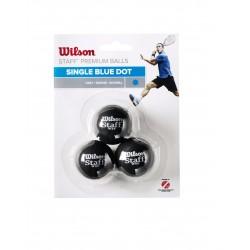 WILSON skvoša bumbiņas STAFF Iepakojumā 3 gb. - blue dot